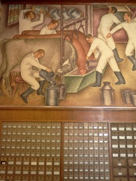 WPA mural and mail boxes in post office